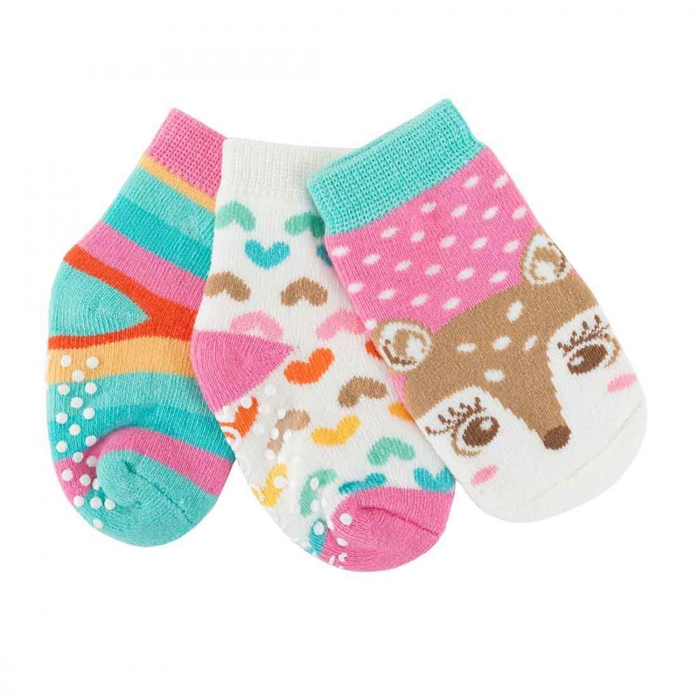 122-018-004 Zoocchini Set 3ks protišmykové ponožky Srnka