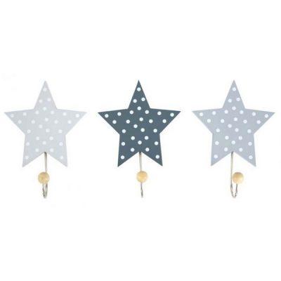 R16016 Jabadabado Dekoratívne háčiky hviezda sivá