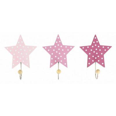 R16026 Jabadabado Dekoratívne háčiky hviezda ružová