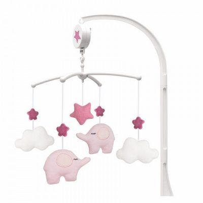 N0119 Jabadabado Hudobný kolotoč slon ružový