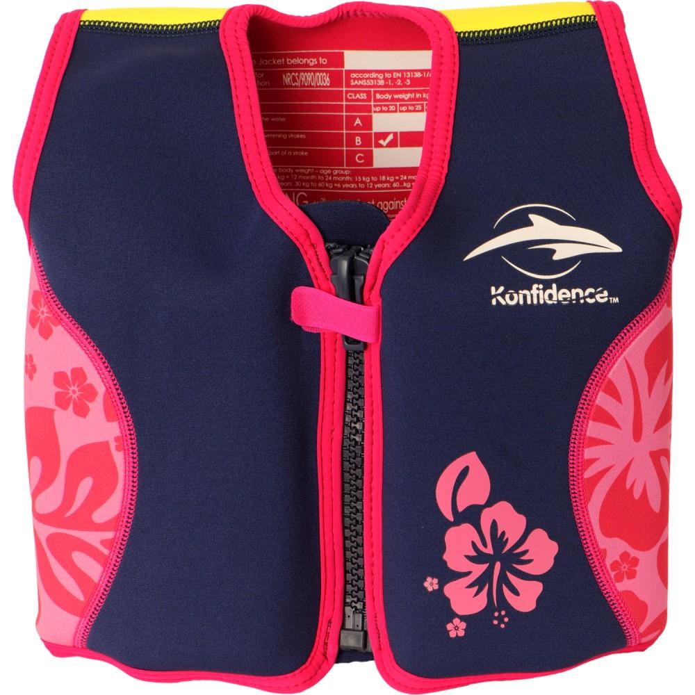306-12 Konfidence Jacket Vesta na učenie plávania Navy Pink Hibiscus 6-7r