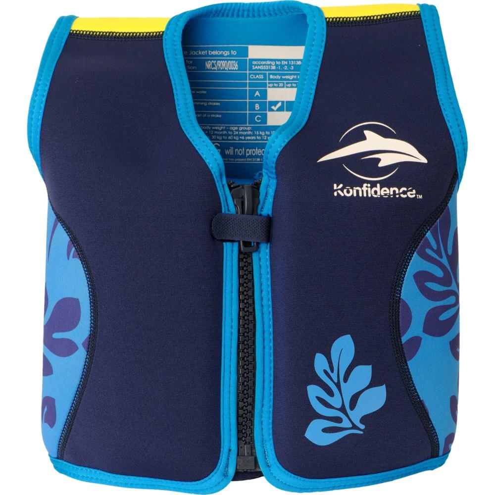 306-08 Konfidence Jacket Vesta na učenie plávania Navy Blue Palm 4-5r