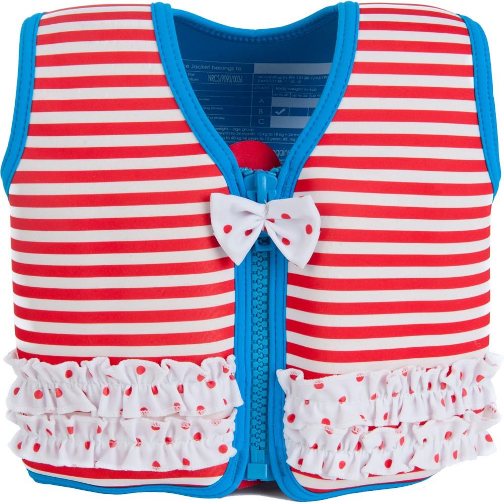 306-01 Konfidence Jacket Vesta na učenie plávania Hamptons Red Stripe 15m-3r