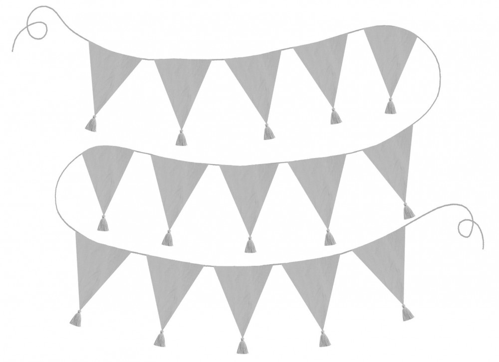 K032 Jabadabado Textilné vlajky sivé