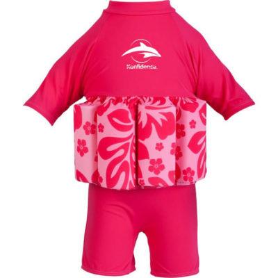 307-11 Konfidence Floatsuit Plavky na učenie plávania Pink Hibiscus 2-3r