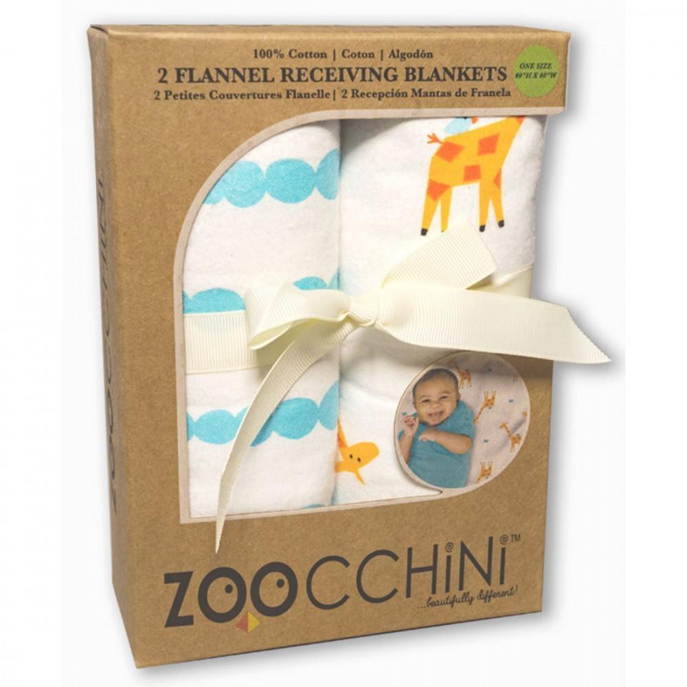 122-011-002 Flanelové osušky Set 2ks Žirafa/Modrá svetlá