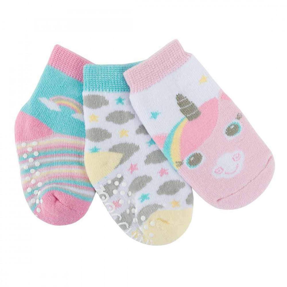 122-018-002 Zoocchini Set 3ks protišmykové ponožky Jednorožec