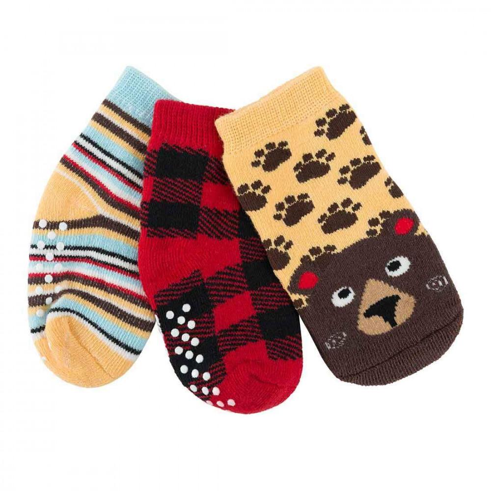 122-018-005 Zoocchini Set 3ks protišmykové ponožky Medveď