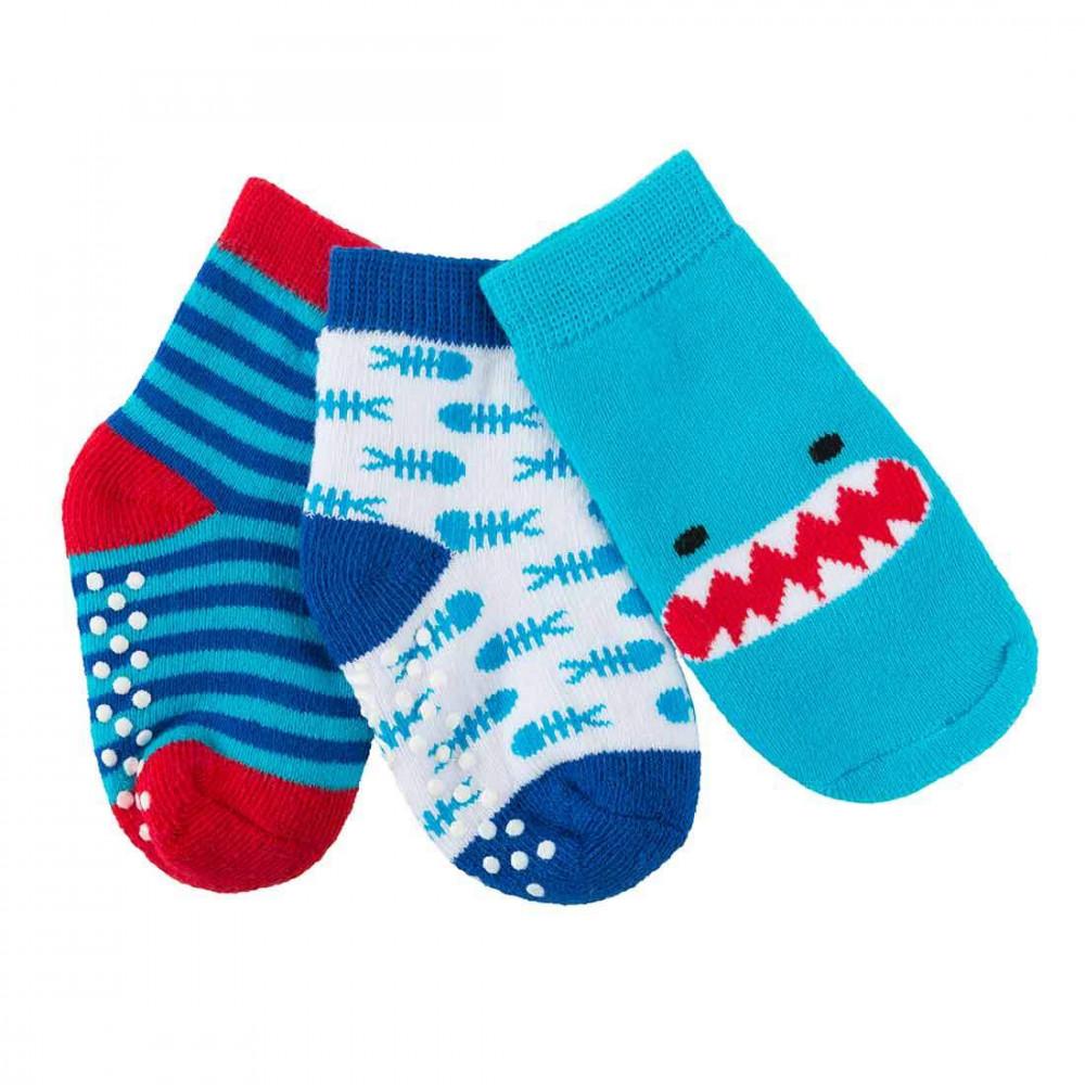 122-018-001 Zoocchini Set 3ks protišmykové ponožky Žralok