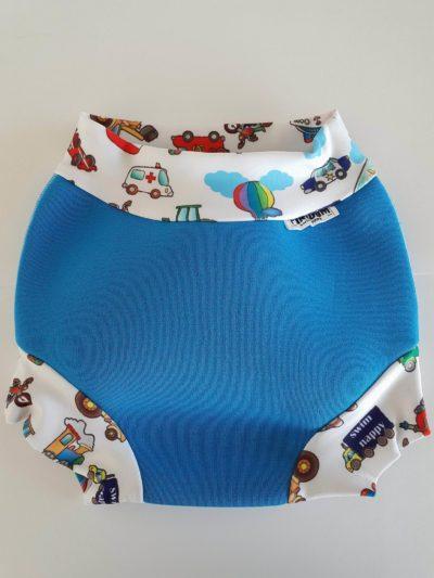 Swim nappy Neoprénové plavky Modré s autíčkami XXL
