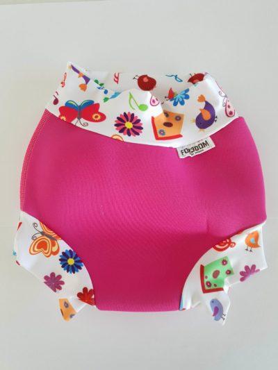 Swim nappy Neoprénové plavky Ružové s kvetinkami XXL