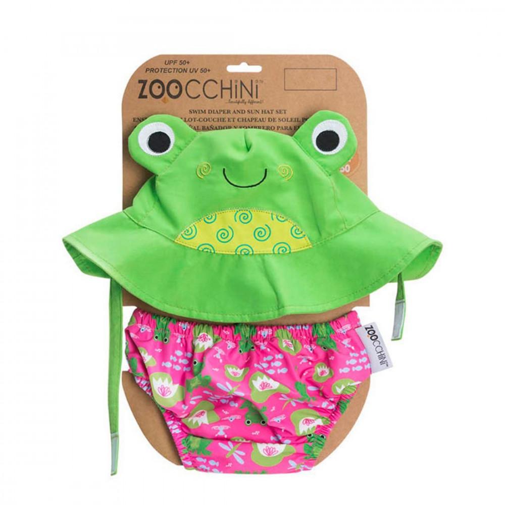 122-010-011 Zoocchini UV Set klobúčik a plavky Žabka 6 - 12 m