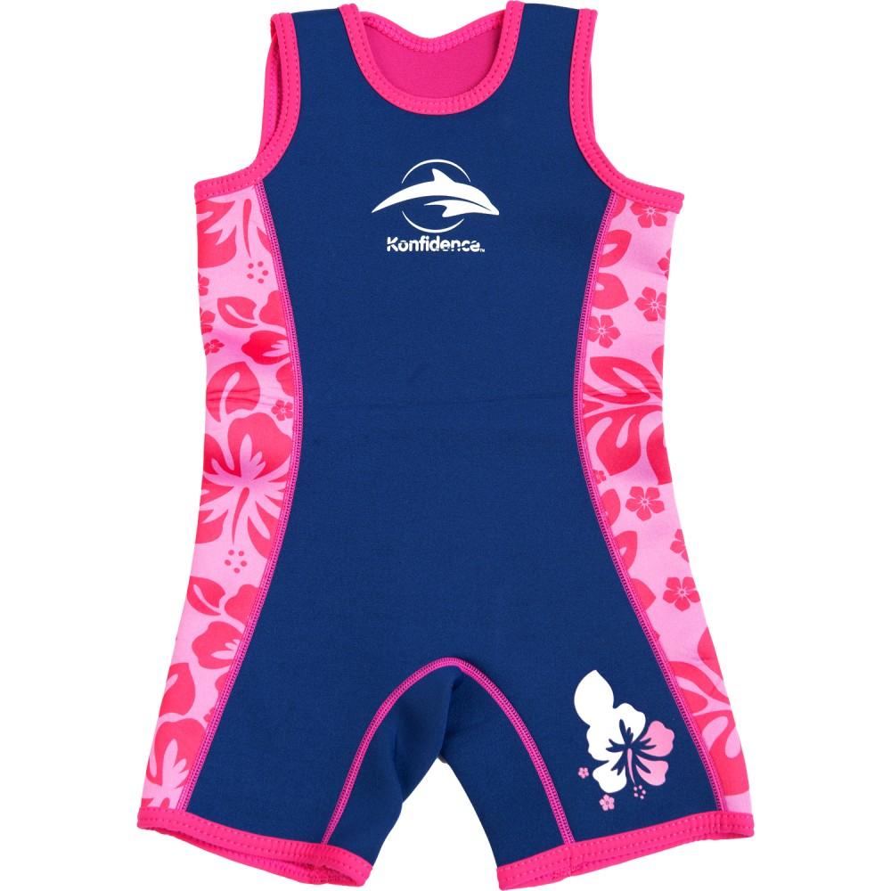 312-05 Konfidence Warma Wetsuit Neoprénový oblek Navy pink hibiscus 4-5r